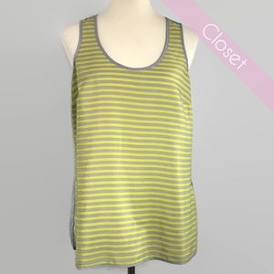 Michael Kors Yellow and Gray Striped Tank Top M